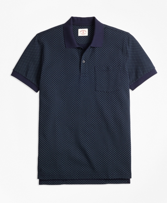 Foulard-Print Cotton Pique Polo Shirt Navy-Green