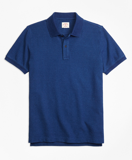 Indigo Cotton Pique Polo Shirt
