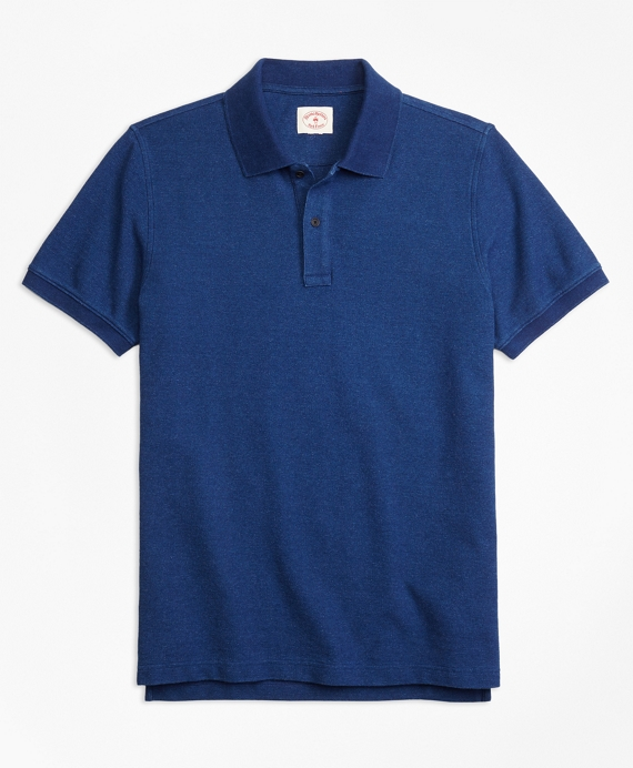 Indigo Cotton Pique Polo Shirt Indigo