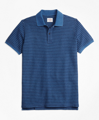 Stripe Indigo Cotton Pique Polo Shirt