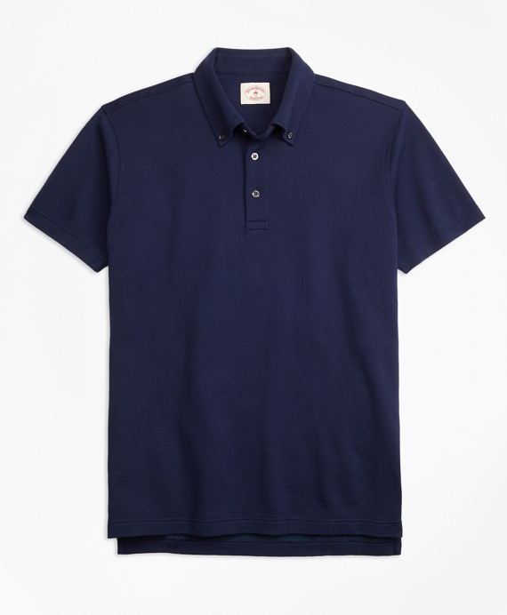 Cotton Jacquard Polo Shirt Navy