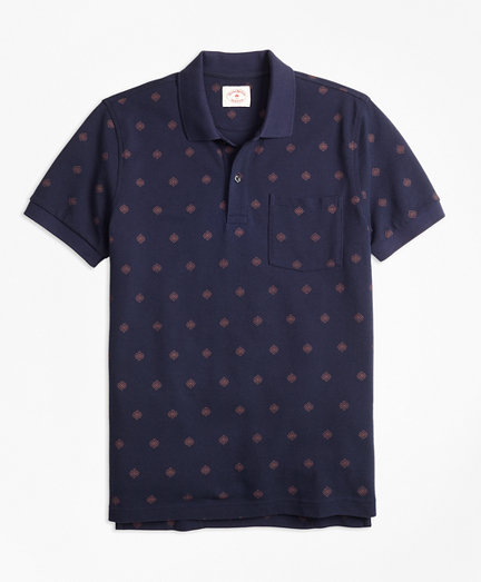 Medallion-Print Cotton Pique Polo Shirt