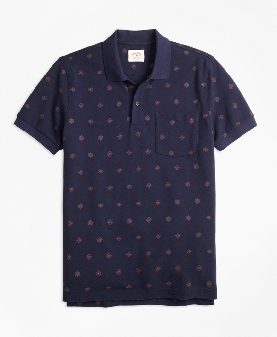 Medallion-Print Cotton Pique Polo Shirt Navy