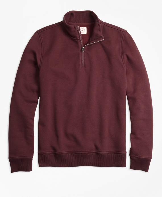 Half-Zip Pique-Fleece Sweatshirt Burgundy