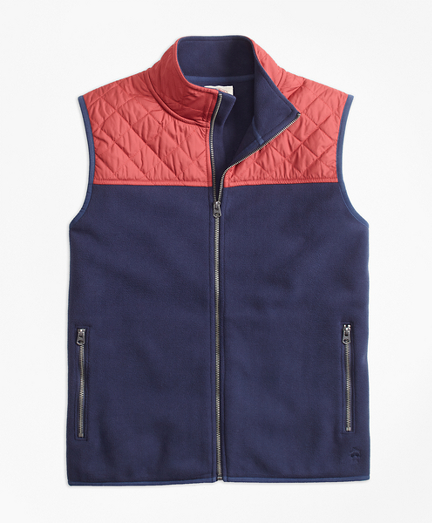 Quilted-Yoke Polar Fleece Vest