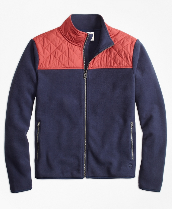 Quilted-Yoke Polar Fleece Jacket Navy-Red