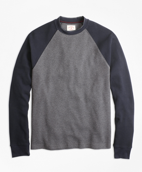 Waffle-Knit Cotton Baseball Shirt Navy-Grey