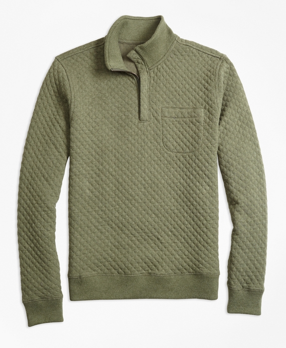 Diamond Quilted Jacquard Half-Zip Green