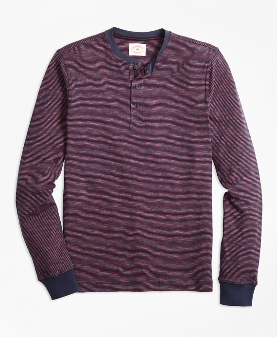 Stripe Slub Cotton Jersey Henley Burgundy