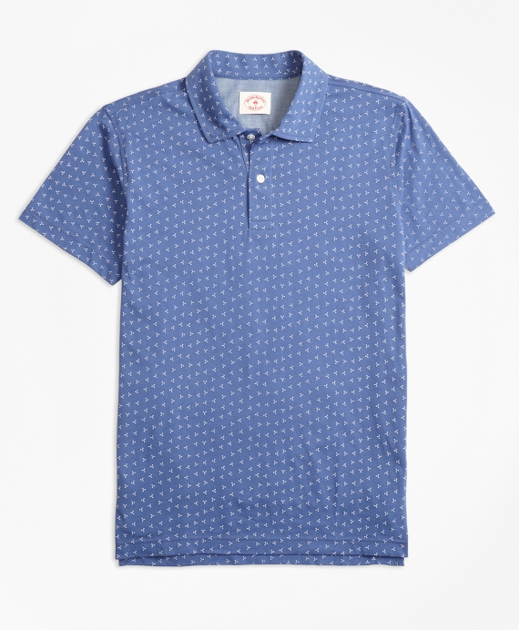 Ditsy-Print Cotton Jersey Polo Shirt Navy