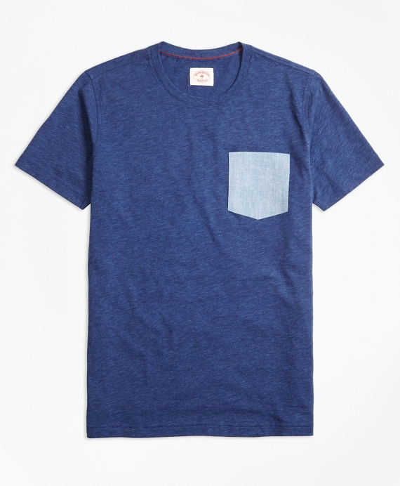 Floral Pocket Heathered Jersey T-Shirt Navy