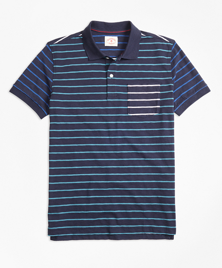 Stripe Slub Cotton Fun Polo Shirt