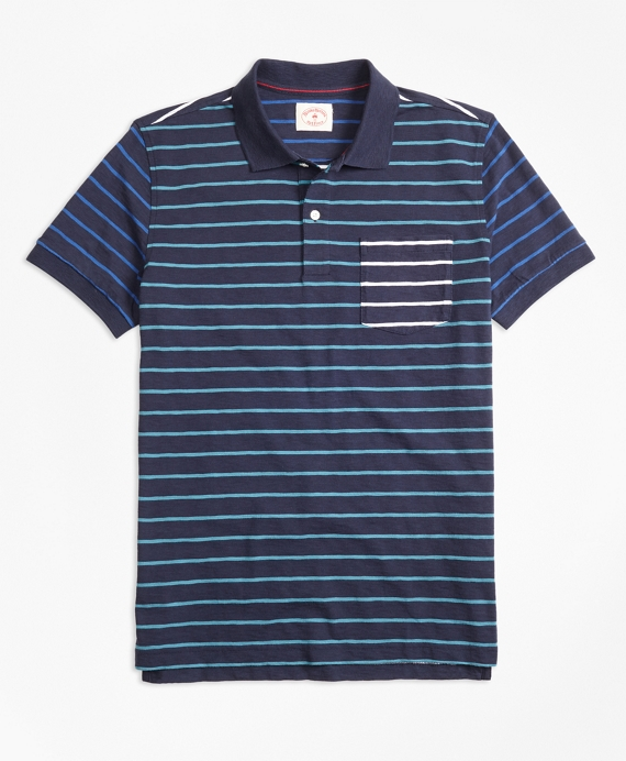 Stripe Slub Cotton Fun Polo Shirt Navy
