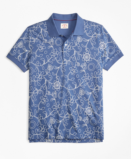 Botanical-Print Cotton Jersey Polo Shirt