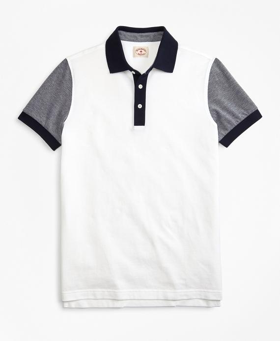 Colorblock Cotton Pique Polo Shirt Navy