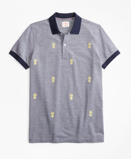 Embroidered Pineapple Cotton Pique Polo Shirt