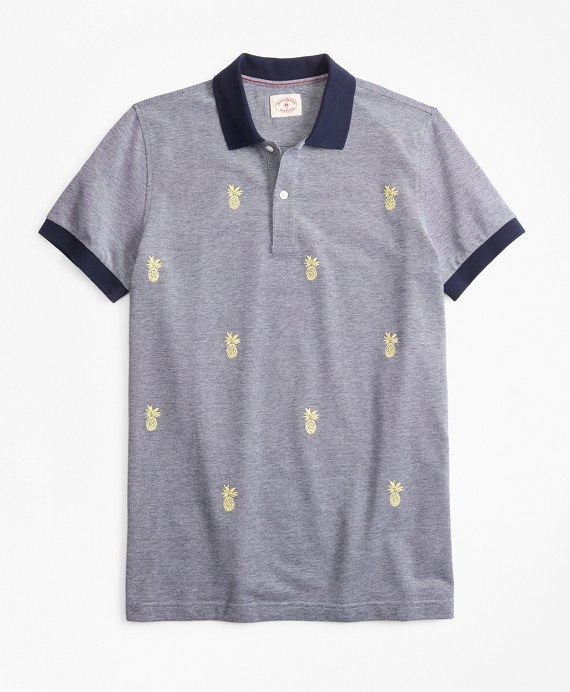 Embroidered Pineapple Cotton Pique Polo Shirt Navy-Yellow