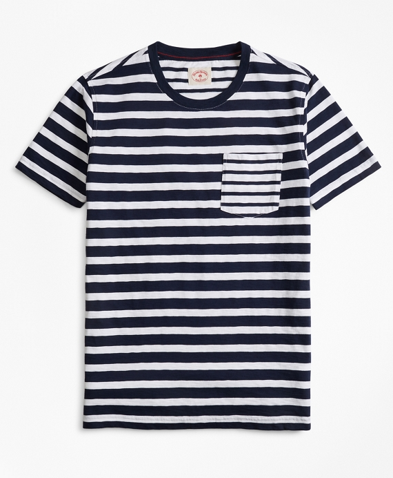 Fun Stripe Slub Cotton Jersey Pocket T-Shirt Navy-White