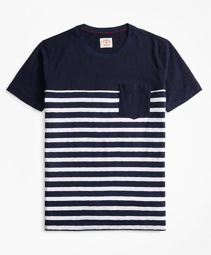 Striped Slub Cotton Jersey Pocket T-Shirt