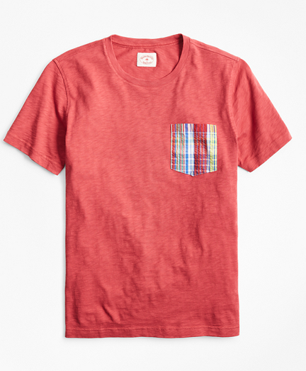 Slub Cotton Jersey Seersucker-Pocket T-Shirt
