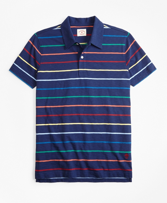 Multi-Color Striped Jersey Polo Shirt
