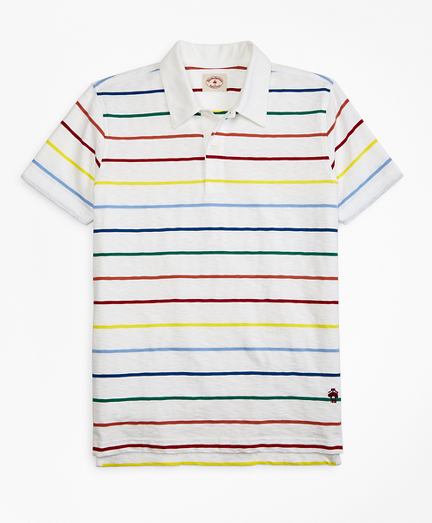 Multi-Color Striped Jersey Polo Shirt