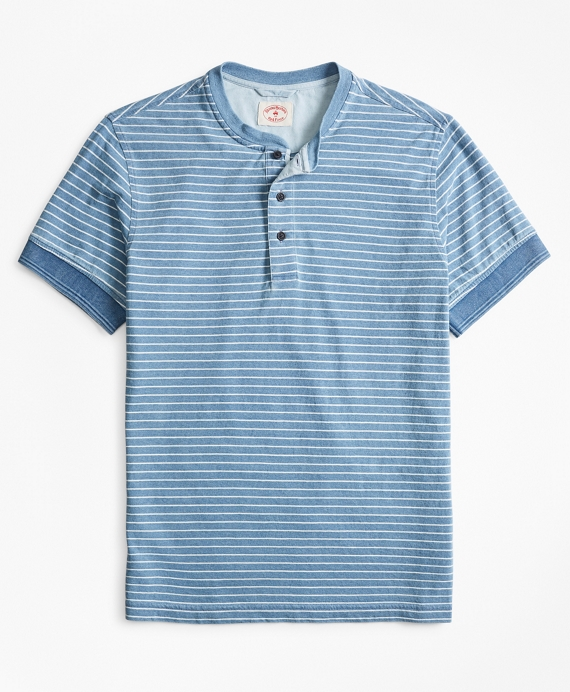 Indigo Feeder-Stripe Short-Sleeve Henley Light Indigo