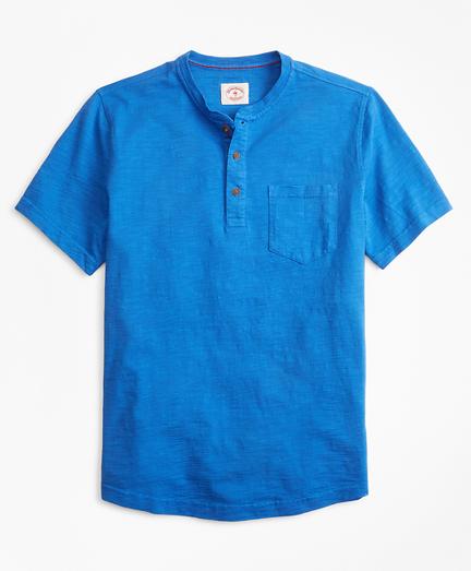 Short-Sleeve Slub Cotton Jersey Henley