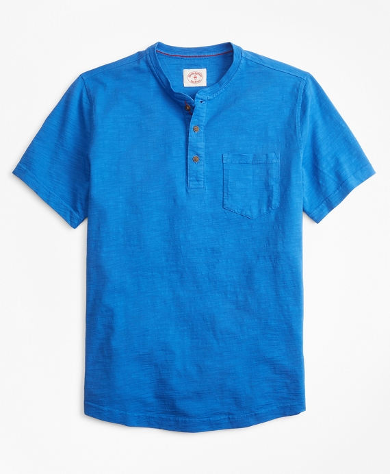 Short-Sleeve Slub Cotton Jersey Henley Blue