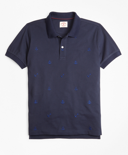 Cotton Pique Embroidered Anchor Polo Shirt