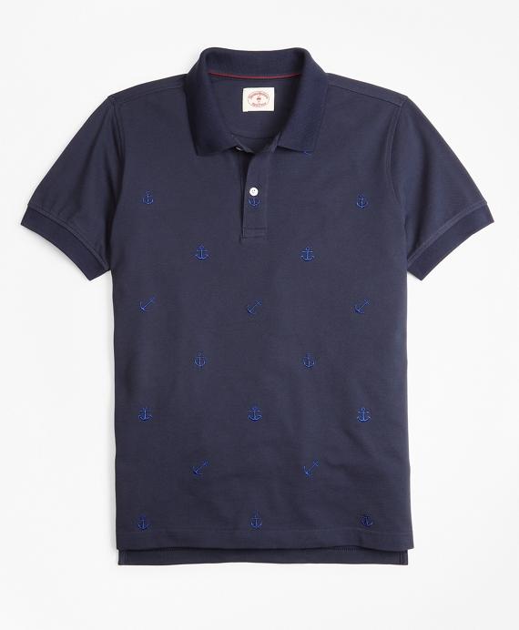 Cotton Pique Embroidered Anchor Polo Shirt Navy
