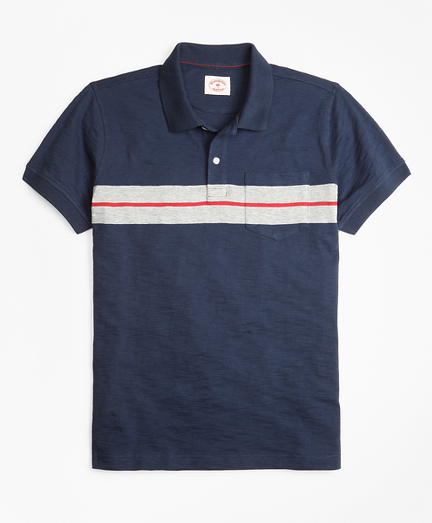 Bold Stripe Cotton Jersey Polo Shirt