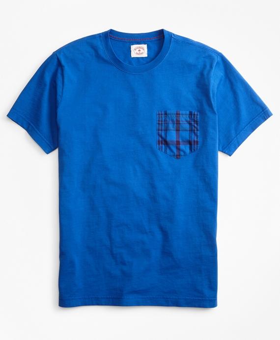 Cotton Jersey Woven-Pocket T-Shirt Blue