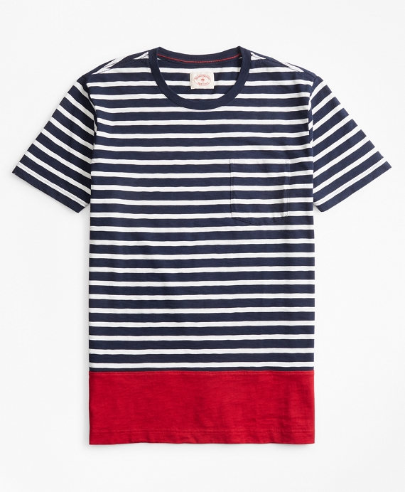 Striped Color-Block Cotton Jersey T-Shirt Navy