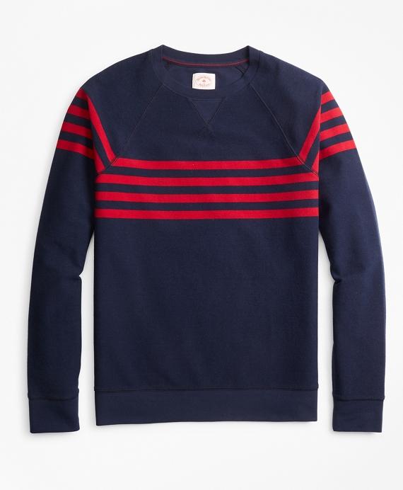 Striped French Terry Crewneck Sweatshirt Navy