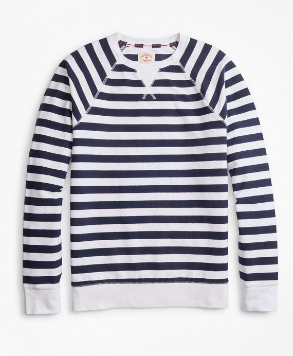 Striped French Terry Sweatshirt White-Navy