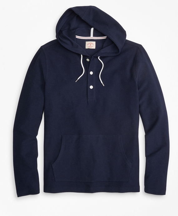 Solid French Terry Hooded Henley Navy