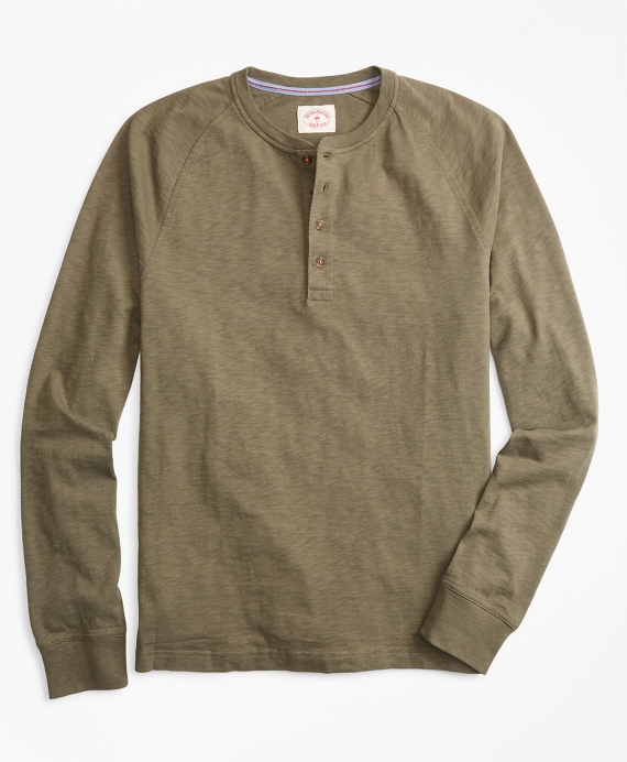 Slub Cotton Jersey Henley Ivy Green