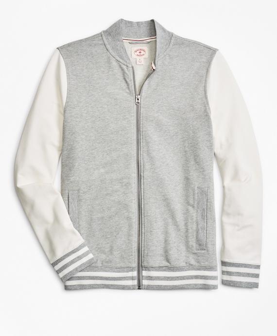 French Terry Lightweight Baseball Jacket Grey