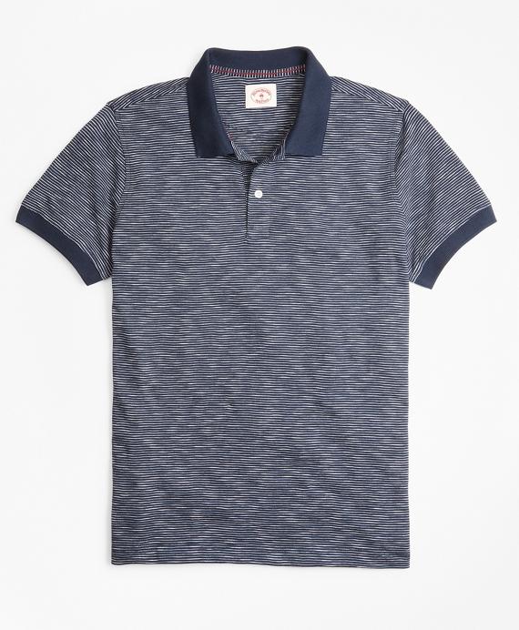 Slub Cotton Feeder-Stripe Polo Shirt Navy