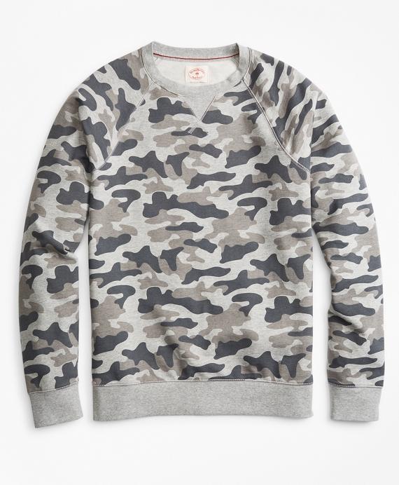 French Terry Camo Crewneck Sweatshirt Grey