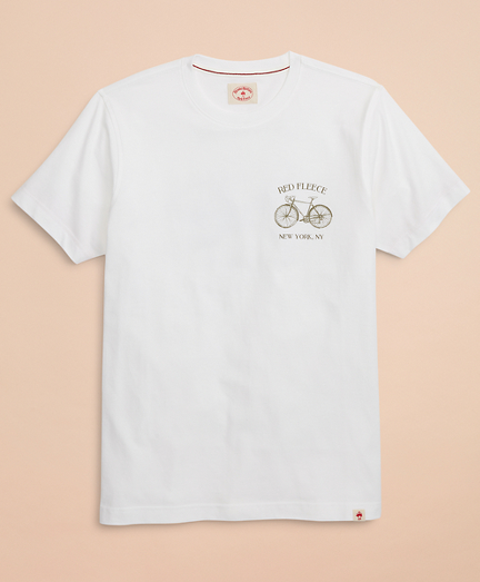 Red Fleece Bicycle Graphic T-Shirt