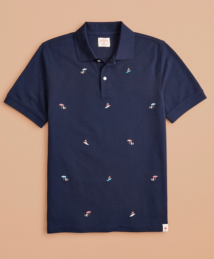 Embroidered Surfer Pique Polo
