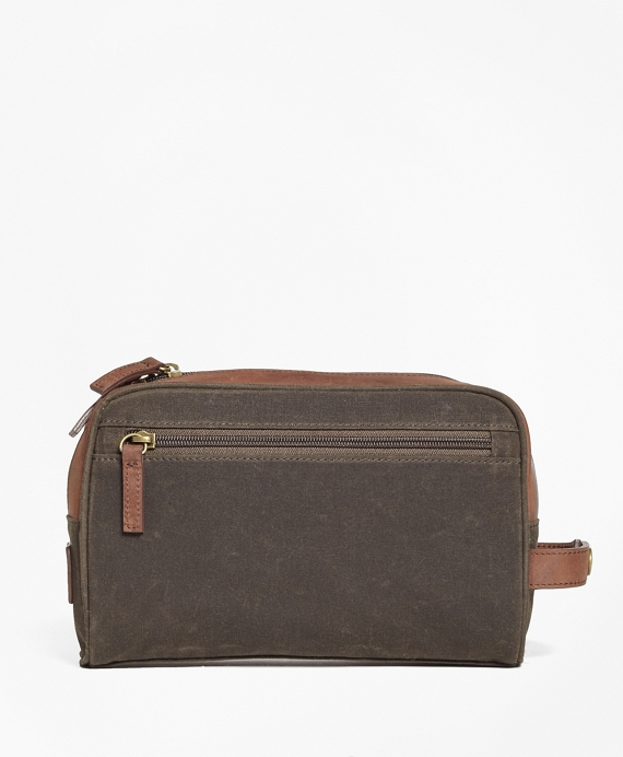 Waxed Canvas & Leather Dopp Kit Olive-Brown