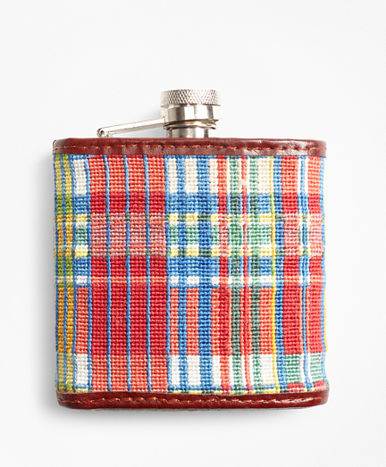 Madras Needlepoint Flask