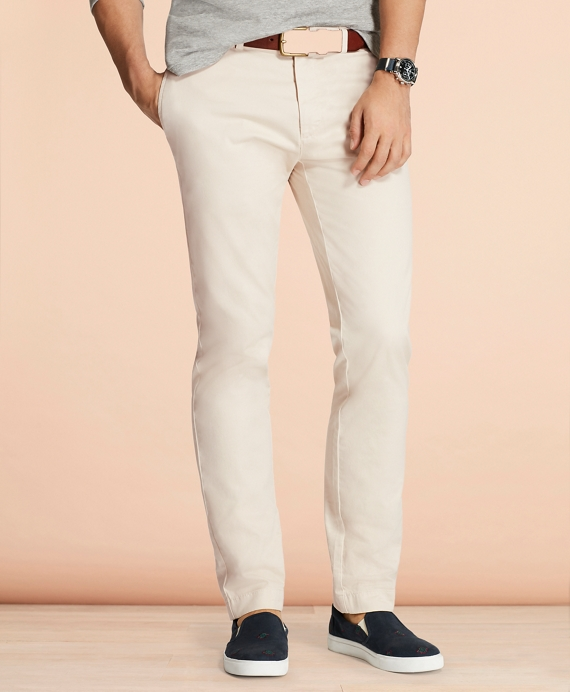 Slim-Fit Garment-Dyed Stretch Chinos Oatmeal