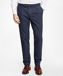 Slim-Fit Canvas Ticking-Stripe Pleat-Front Chinos