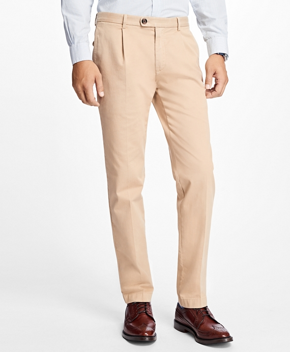 Slim-Fit Pleat-Front Garment-Dyed Stretch Chinos