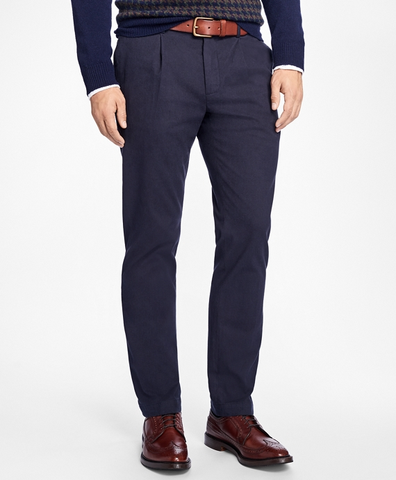 Slim-Fit Brushed-Flannel Pleat-Front Stretch Chinos Navy