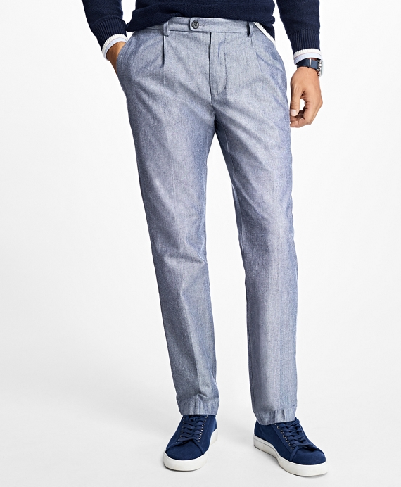 Slim-Fit Broken Twill Pleat-Front Stretch Chinos Blue
